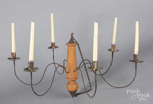 Painted wood and tin candle chandelier