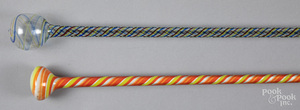 Two swirl glass canes