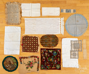Needlework panels, together with pillow shams, et