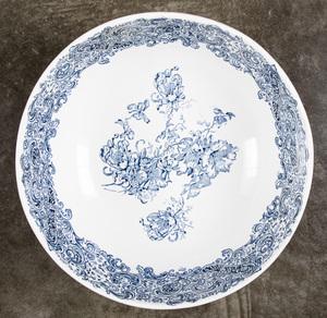 Large Doulton Lambethware punch bowl