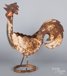 Painted iron garden chicken planter, 20th c.