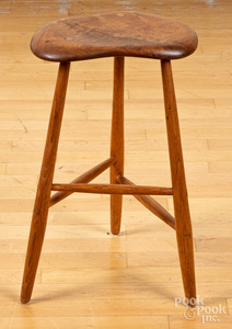 Free-form walnut stool, in the manner of Esherick