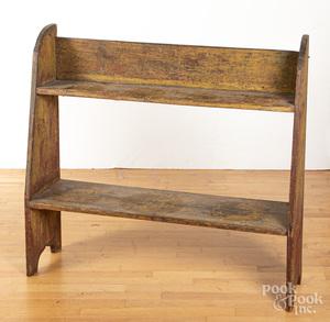 Pennsylvania painted pine bucket bench, 19th c.
