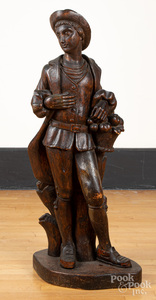 Carved pine figure of a young man, 19th c.