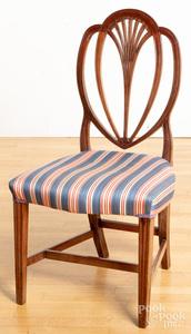 Federal mahogany shieldback dining chair, ca. 180