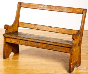 Mortised pine bench, 19th c.