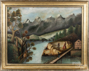 Primitive oil on canvas river landscape