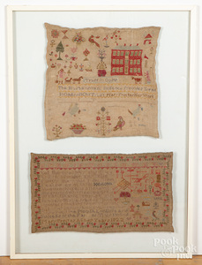 Pair of silk on linen samplers, by Mary Procter