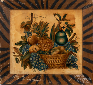 Oil on velvet theorem of a basket of fruit