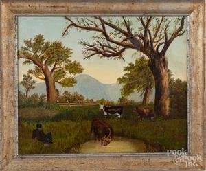 American oil on canvas primitive landscape
