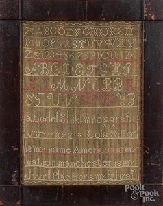 Manchester, New Hampshire silk on linen sampler