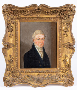 Oil on canvas portrait of a gentleman, 19th c.
