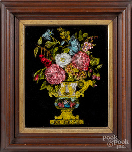 Foilwork urn of flowers, late 19th c.