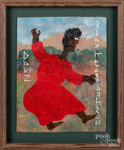 Black Joe Jackson oil on board of a figure dancin