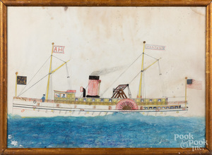 Primitive mixed media ship portrait