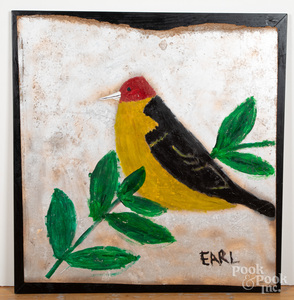 Earl Swanigan oil on board outsider art of a bird