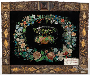 Scarce Connecticut foilwork wreath, late 19th c.
