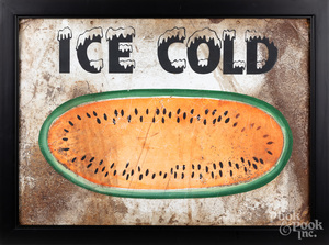 Painted tin Ice Cold watermelon sign