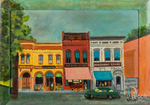 Folk art oil on board street scene, mid 20th c.