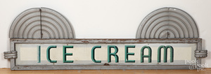 Painted tin and wood art deco Ice Cream sign