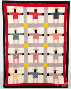 Black Americana Uncle Sam crib quilt, mid 20th c.