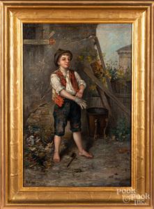 Italian oil on canvas of a street urchin