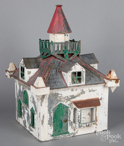 Painted zinc birdhouse, early 20th c.