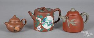 Three Chinese Yixing teapots