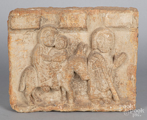 Carved limestone stele of the Holy Family