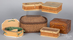 Five Shaker baskets, together with a dresser box