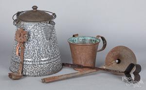 Metalware, to include a grey graniteware coffeepo