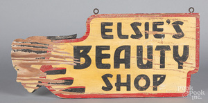 Double sided Elsie's Beauty Shop trade sign