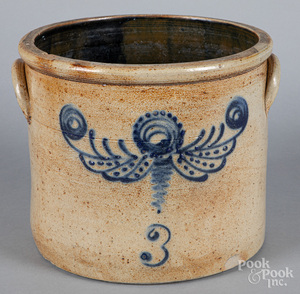 Three-gallon stoneware crock, 19th c.