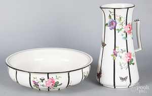 Grecian porcelain pitcher and basin