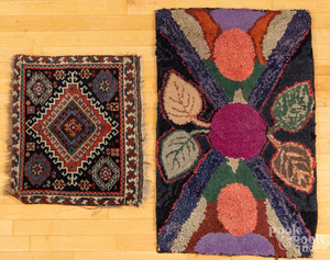 Floral hooked rug, together with an oriental mat