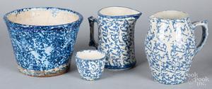 Four pieces of blue spongeware