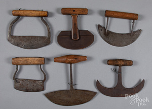 Six early food choppers, 19th c.