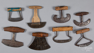 Eight early food choppers, 19th c.