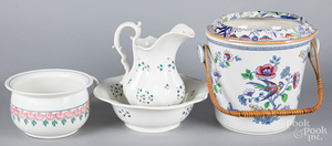 Pearlware pitcher and basin, etc.