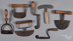 Seven early food choppers, 19th c.