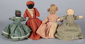 Four cloth topsey turvey dolls