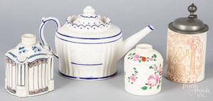 Castleford pottery teapot, 19th c., etc.