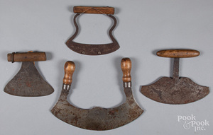 Four early food choppers, 19th c.