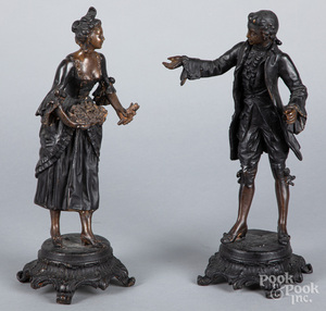 Pair of bronze figures of a man and woman