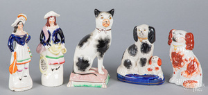 Five Staffordshire animals and figures