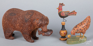 Carved rosewood bear, 20th c.