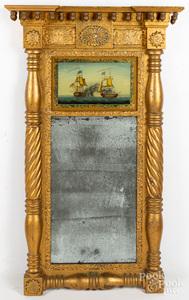 Large Sheraton giltwood mirror, ca. 1820