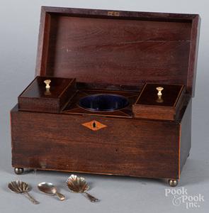 Regency mahogany tea caddy, early 19th c.