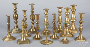 Collection of English brass candlesticks