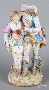 Large bisque figural courting group